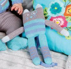 Cat comforter Source by Knitting For Kids, Loom Knitting, Baby Knitting, Knitting Toys, Knitted Dolls, Crochet Toys, Crochet Baby, Circular Knitting Machine, Monster