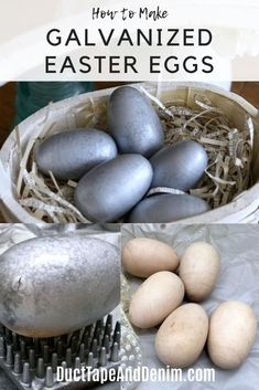 These galvanized easter eggs are so easy to make from wooden eggs and spray paint. A perfect DIY Easter decor project for your farmhouse. Spray Paint Projects, Craft Projects, Craft Ideas, Diy Easter Decorations, Spring Crafts, Easter Crafts, Easter Eggs, Easy Diy, Urban Farmer