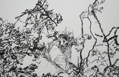 detalle , tinta sobre papel 140 x 110 cm