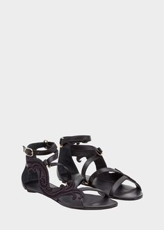 Cheap Flights Versace Leather Sandals Black Chain trimmed