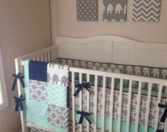 Crib Bedding Set Gray and Mint Green Made by butterbeansboutique