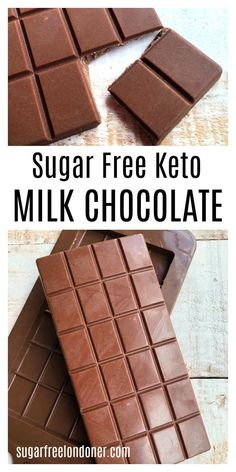 Don't waste money on expensive shop-bought Keto chocolate! You can make your own creamy milk chocolate with only four ingredients. Sugar Free and Low Carb!! Low Carb Sweets, Low Carb Desserts, Low Carb Recipes, Stevia Recipes, Easy Desserts, Healthy Recipes, Keto Chocolate Recipe, Homemade Chocolate, Milk Chocolate Bar Recipe