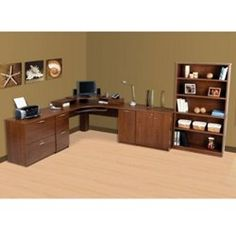 Tuscany Brown Office Group, SET Corner Workstation, Corner Desk, Home Office Desks, Home Office Furniture, Wire Management, Filing Cabinet, Tuscany, Home Kitchens, Shelves