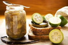 Feijoa jam with vanilla and fresh ginger recipe, Viva – visit Food Hub for. - I Cook Different Fejoa Recipes, Cooking Recipes, Guava Recipes, Recipies, Fruit Recipes, Dessert Recipes, Ginger Jam, Fresh Ginger, Homemade Crumpets