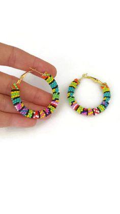 Colorful Beaded Hoop Earrings / Hoop Earrings / Beadweaving Earrings / inches / Gift for her / seed bead jewelry Seed Bead Jewelry, Seed Bead Earrings, Beaded Earrings, Seed Beads, Beaded Jewelry, Handmade Jewelry, Beaded Bracelets, Hoop Earrings, Diy Jewelry