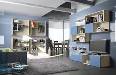 furniture, Interior Wall Units Design Ideas With Bookshelves Design Ideas And Blue Furniture Ideas With Tv Cabinet Design For Living Room De. Living Room Wall Units, Bookshelves In Living Room, Living Room Modern, Home And Living, Living Room Designs, Bookshelf Design, Wall Shelves Design, Blue Furniture, Living Room Furniture