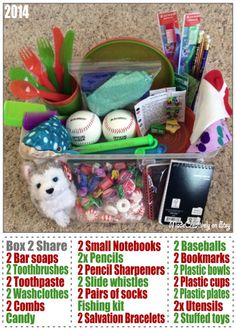 We packed this Operation Christmas Child shoebox for a 10-14 year old boy with 2 of each item for them to be able to share with a sibling or friend that didn't get a shoebox. In it is 2 slide whistles, 2 pairs of socks, 2 sets of plastic dishes, 2 baseballs, 2 Salvation Bracelets, candy, a stuffed dog, a stuffed whale, hygiene items and more! http://www.pinterest.com/madecreatively