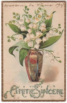 Lilies Of The Valley In A Fancy Vase Original Vintage Postcard Vintage Cards, Vintage Postcards, Vintage Images, Botanical Prints, Floral Prints, Etiquette Vintage, Lily Of The Valley Flowers, Love Lily, Birth Flowers
