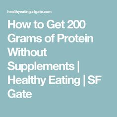 How to Get 200 Grams of Protein Without Supplements | Healthy Eating | SF Gate