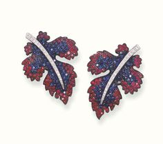 Elegant Pair of Sapphire, Ruby and Diamond Earclips, Carnet