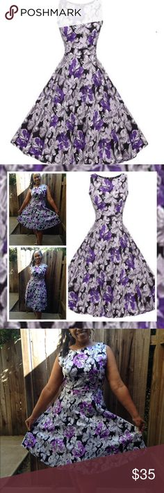 Vintage Look / Retro Look Swing Dress ✨Brand new vintage look purple and grey swing dress. Size 12, made of polyester. One piece, zipper in back, belt tie in back, perfect for the warm weather. ☀️ Dresses