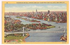 New York City Skyline vintage postcard