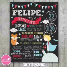 Lámina Pizarra Imprimible Principito Personalizada Cumpleaño - $ 250,03 Prince Birthday, Ideas Para Fiestas, The Little Prince, Cool Drawings, Chalkboard, Diy And Crafts, Baby Shower, Party, 1st Year