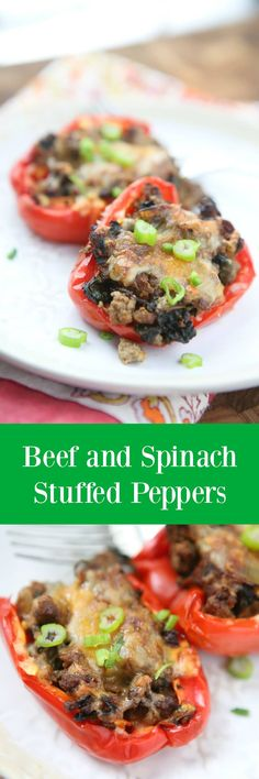 Simple and healthy, this low carb recipe for Beef and Spinach Stuffed Peppers were a hit at my house!