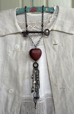 talisman urban gypsy necklace, key, idea - found object or glass for focal point, beads , chain...from TuscanRose