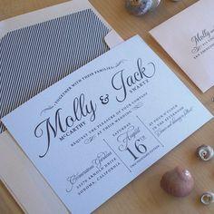 Beach Wedding Invitation, Carefree Elegance Invitation, RomanticStripe Invitation, Pearlescent Paper