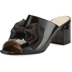 Amalfi By Rangoni Lanzarote Patent Bow Mule (€165) ❤ liked on Polyvore featuring shoes, black, black patent leather shoes, black mules shoes, black open toe shoes, black patent shoes and open toe shoes