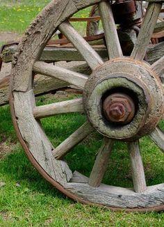 Old rustic wagon wheel