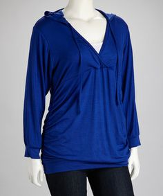f4dcea2fb6d GLAM Royal Blue Hooded Surplice Top - Plus by GLAM  zulily  zulilyfinds  Surplice Top
