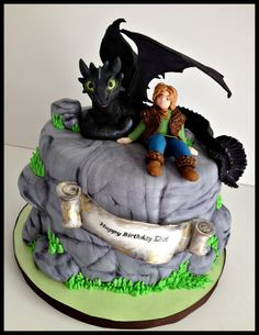 How to Train Your Dragon cake for my son Eliots 8th birthday!