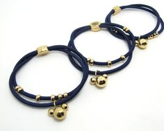 Navy Hair Elastic Band|Bracelet|Double Rubber Band|Metal Charms and Beads|Ponytail Holder|Rubber Band|Accessory Supplies|Hair Tie Band