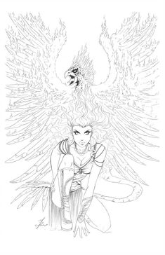 Phoenix Cover -Pencils by ~Dawn-McTeigue Cartoons Comics / Traditional Media / Comics / Pages ~Dawn-McTeigue Pencils for alternate cover for JP Roths Ancient Dreams Pencils by me Fairy Coloring Pages, Adult Coloring Book Pages, Coloring Sheets, Coloring Books, Line Art, Comic Art, Fantasy Art, Sketches, Drawings