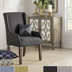 Inspire Q Jourdan Linen Sloped Arm Hostess Chair (Dark Gray Linen), Grey Fabric Dining Chairs, Dining Arm Chair, Dining Room Design, Dining Room Chairs, Kitchen Chairs, Office Chairs, Dining Area, Side Chair, Dining Tables