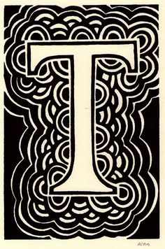 T is for the letter T. Linocut. $8.00, via Etsy.