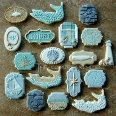 Nantucket Delicacy Set * Nautical Cookies * The Cookie Architect Summer Cookies, Fancy Cookies, Iced Cookies, Cute Cookies, Royal Icing Cookies, Cookies Et Biscuits, Food Design, Galletas Cookies, Cookie Designs