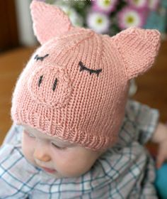 Free Knitting Pattern for Pig Baby Hat - Adorable baby hat is transformed with a few extra pieces to a cute animal. Designed by Cassie at Little Red Window.