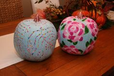 So cute for Halloween! Lilly Print Painted Pumpkin