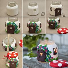 DIY Clay Jar Mushroom House Tea Light Holder : Been searching for a DIY clay project to make that looks unbelievable? This DIY Clay Mushroom is an amazing project to make & impress your friends Jar Crafts, Bottle Crafts, Diy And Crafts, Crafts For Kids, Christmas Candle Decorations, Christmas Candles, Vase Decorations, Home Decoration, Home Candles