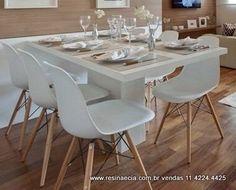 mesa de jantar em resina 1.40 x 0.80 cor branca base central