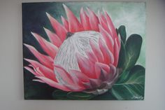 Protea flower painted in acrylic on stretched canvas - 40x60cm
