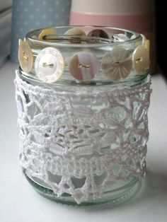 Tea light holder -- perfect for some of my old buttons and doily pieces.