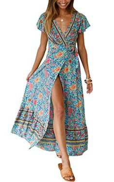 online shopping for ZESICA Women's Bohemian Floral Printed Wrap V Neck Short Sleeve Split Beach Party Maxi Dress from top store. See new offer for ZESICA Women's Bohemian Floral Printed Wrap V Neck Short Sleeve Split Beach Party Maxi Dress Casual Summer Dresses, Beach Dresses, Short Sleeve Dresses, Women's Dresses, Short Sleeves, Long Dresses, Elegant Dresses, Party Dresses, Dress Beach