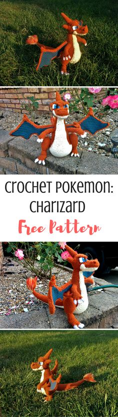 A Wild Charizard has been spotted! Get the crochet pattern here!