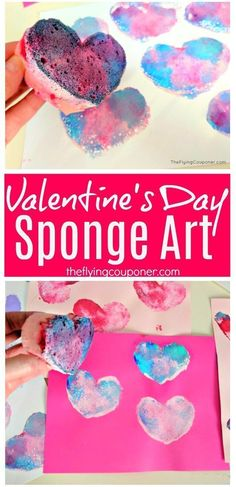 Valentines's Day Sponge Art. Fun and easy Valentine's Day crafts for kids to make. Art projects at school or preschool. Simple DIY painting project. Valentine heart. The Flying Couponer.