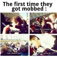 The first time they got mobbed!! OMG XD!! This is the funniest thing ever hahaha!! Zayn and Liam though