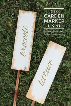 Learn how to make these gorgeous white and gold garden marker signs for your garden! | LoveGrowsWild.com