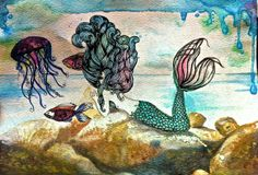Mermaid. Fish, jellyfish. watercolor. Underwater AND above water. bright colors. original art by gloria espinoza