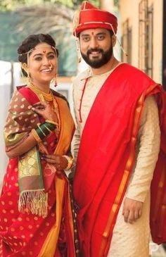 Marathi Bride and Groom Wear for their Wedding Marathi Bride, Marathi Wedding, Saree Wedding, Wedding Attire, Couple Wedding Dress, Wedding Dresses Men Indian, Wedding Couples, Wedding Bride, Hair Wedding