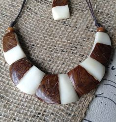 This Galapagos Tagua Brand Tribal Necklace & Earrings Set is of the utmost quality and is eco-friendly, fair trade, handmade, unique and special. Your purchase is 100% guaranteed.