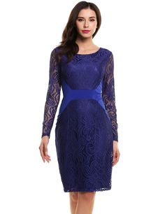 Blue Vintage Style Crochet Lace Long Sleeve Evening Party Bodycon Pencil Dress