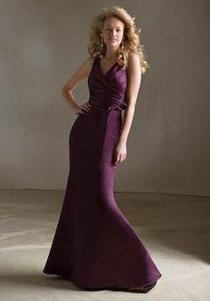 Floor Length V Neck Satin Mermaid With Sash/ Ribbon Bridesmaid Gowns