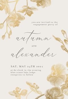 Gold Orchids - Engagement Party Invitation #invitations #printable #diy #template #Engagement #party #wedding Farewell Party Invitations, Farewell Parties, Engagement Party Invitations, Invitation Background, Calendar Wallpaper, Gold Party, Wedding Engagement, Orchids, Invitation Templates