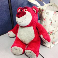 Just found this red Teddy Bear, Lots-o'Huggin' Bear from Toy Story, outside the EDP office in #Norwich - can we find its owner? Contact: @CMorrisGretton