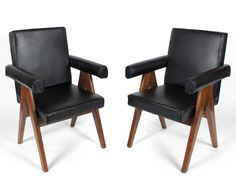 Pierre Jeanneret, Leather Armchairs (1952-1956), teak and leather