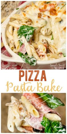 Pizza pasta bake is an exciting twist on traditional pizza. For an easy dinner add your favorite toppings to a bed of noodles and cheese. via @simplesweetrecipes