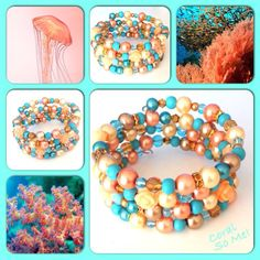 Coral! Moderne, mooie zelfgemaakte armbanden, glas parels, glas kralen , Memory wire, http://some-accessoires.nl